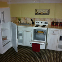 Doll Kitchen Sink / Stove / Refrigerator / Cabinets - Playscale Kitchen for Fashion Dolls - Fully Loaded - Get 20% Off