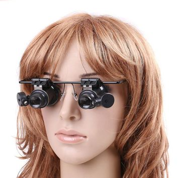 Eye Jeweler Watch Repair 20X Magnifier Magnifying LED Lights Glass Loupe Le Free Shipping