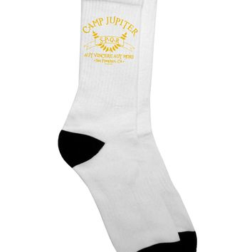 Camp Jupiter - SPQR Banner - Gold Adult Crew Socks - by TooLoud