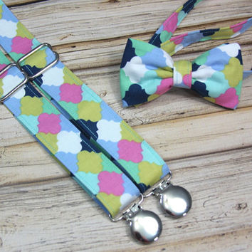 Spring Lattice Mint Navy Blue Mustard Pink Bow Tie and Suspender set ( Men, boys, baby, toddler, Suspender Bowtie) Easter outfit tie