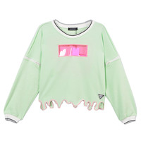 Green Irregular T-shirt With Transparent Patch - Choies.com