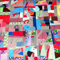 Colorful Patchwork Crazy Quilt Bedspread Multicolor Knit Hand Stitched Sewn Farmhouse Country Home Bedding Decor 80 x 85