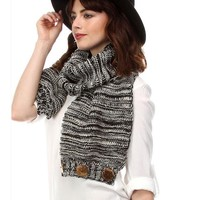 Knit Infinity with Button Closure, Black