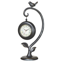 "16"" Perched Bird Clock, Black, Clocks"
