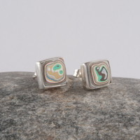 Small sterling silver and fordite square stud earrings