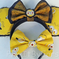 "Handmade ""Minion"" Mouse ears headband inspired by Universal Studios"
