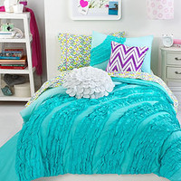 Teen Vogue Bedding, Ella Teal Ruffle Comforter Sets - Dorm Bedding - Bed & Bath - Macy's