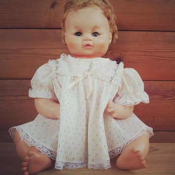 "Baby Vintage Doll - 1960s Doll - Moulds Sleepy Eye Doll -  Vintage Toy Doll - 18"" Baby Doll - Antique Doll - Collectible Doll - Rare Doll"