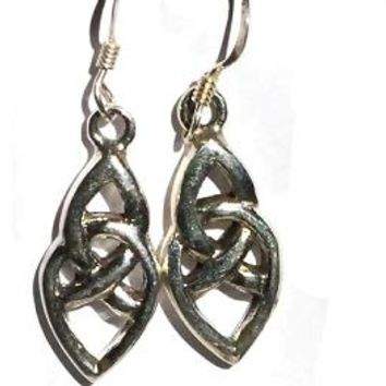 Sterling Silver Celtic Knotted Tear Dangle Earring