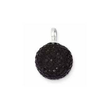 Sterling Silver Stellux Crystal 14mm Black Ball Pendant
