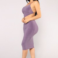 Queens World Cut Out Dress - Dusty Purple