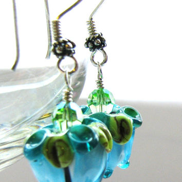 FREE SHIPPING, Teal Rose Bud Earrings, Lampwork Flower Earrings, Swarovski Crystals, Handmade Bali Sterling Silver, Floral Gift For Her