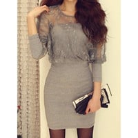 Gray Cotton and Lace Womens Bat Sleeves Sexy Dress (Size: M, Color: Gray) = 1932227652