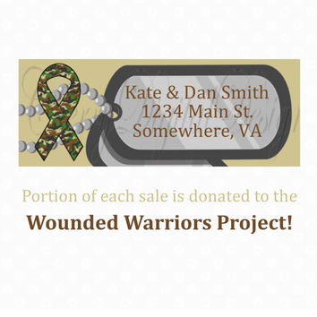 Military Support Dog Tag Return Address Labels.  Charity Wounded Warrior Project. Army, Navy, Marines, Air Force, & Coast Guard support.