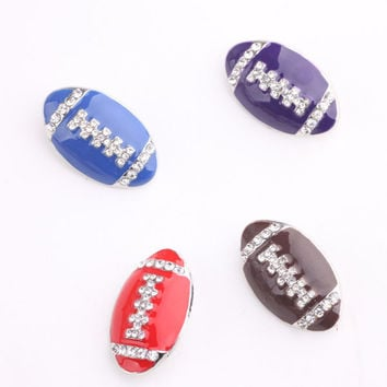 new mix 20pcs  high quality rugby rhinestone enemal America football snap button jewelry