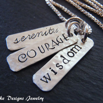 Sterling Silver courage necklace serenity prayer necklace serenity courage wisdom