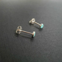 Light Tiny Turquoise Stud Earrings, Small Turquoise Earrings, 3mm Turquoise Post earrings, Turquoise Jewelry