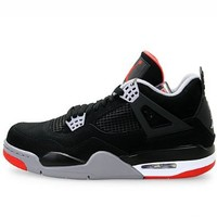 Mens Nike Air Jordan Retro 4 Basketball Shoes Black / Cement Grey / Fire Red 308497-089 Size 8