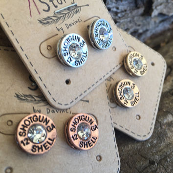 12 gauge Bullet Shell Stud Pierced Earrings