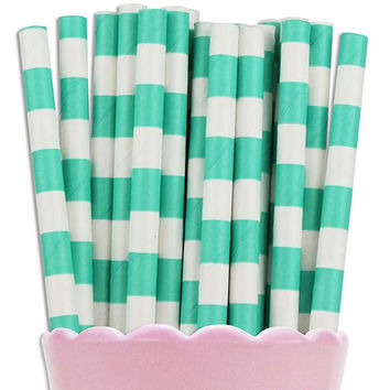 Aqua Ring Stripe Paper Straws
