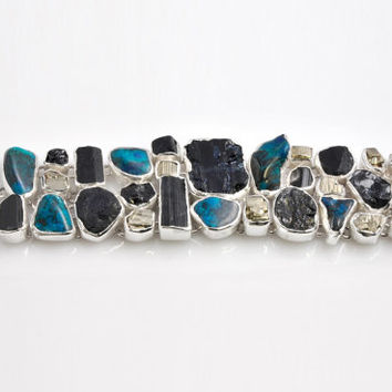 Wonderful 925 Silver Bracelet Crafted with Precious Stones Raw of Pyrite, Crisocolla, Black Tourmaline and Turquoise Made in Italy