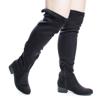 Yah Black By Soda, OTK Over Knee Slouch Boots w Back Lace & Block Stacked Heel