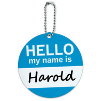 Harold Hello My Name Is Round ID Card Luggage Tag