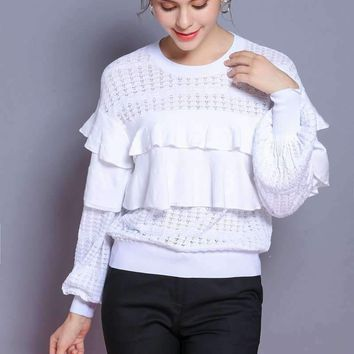 Womens Ruffle Pullovers Knitted Sweater