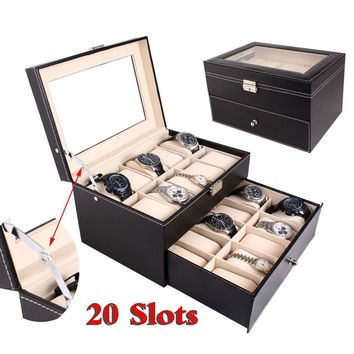 24/20/12/10/6 Slots Dual Layers Elegant Wooden Watch Collection Box Display Case Jewelry Storage Box Black