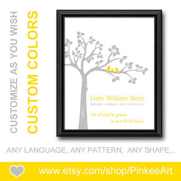yellow gray bible verse nursery baptism new mom gift with baby stats christian birth announcement personalized baby decor baby birth print