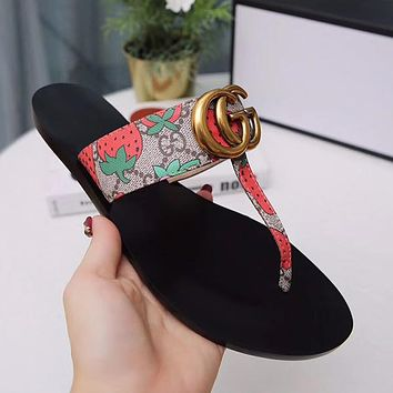 Gucci Women Casual Fashion Print Sandal Slipper Shoes