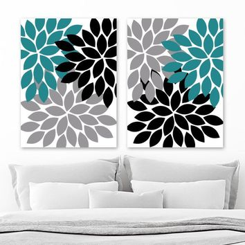 Teal Black Gray Flower WALL Art, Flower CANVAS or Prints, Teal Black Gray Bathroom Decor, Teal Black Gray Flower Bedroom Pictures, Set of 2