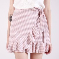 GINGHAM RUFFLE SKIRT (BLUSH)