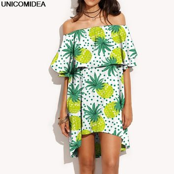 2017 Ruffles Slash Neck Women Dress Summer Off Shoulder Fruit Pineapple Printed Sexy Dress Robe Casual Short Beach Boho Dress