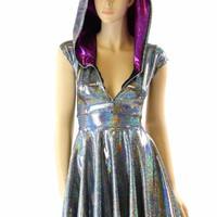 Silver Holographic Hoodie Skater Dress with Cap Sleeves, Fuchsia Sparkly Jewel Hood Liner & Front Zipper