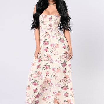 Wild And Free Dress - Nude Floral