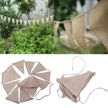 3m Vintage Shabby Chic Hessian Burlap Banner Rustic Wedding Bunting Decors Buntings Weddings Drop Shipping