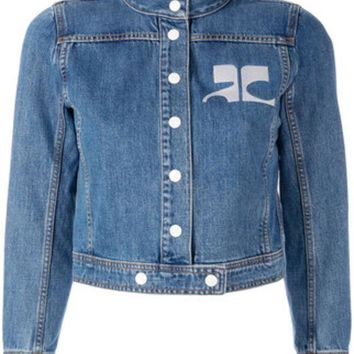 ESBONJF Courrèges Embroidered Logo Denim Jacket - Farfetch