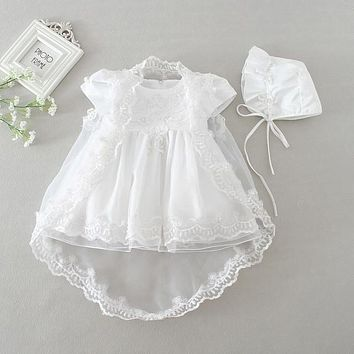 3 Piece Baptism/Christening Gown with Cap and Chiffon Shawl
