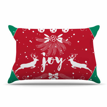 "Famenxt ""Christmas Joy"" Red Green Digital Pillow Case"
