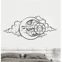 Vinyl Wall Decal Moon Sky Sun Night Bedroom Design Stickers Unique Gift (851ig)