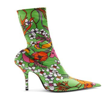 Green Floral Printed Stretchy Ankle Boot