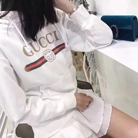 """Gucci"" Women Casual Classic Logo Letter Print Long Sleeve Hooded Sweater Tops"