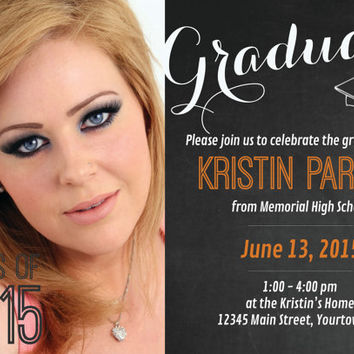 "ON SALE PRINTABLE 5"" x 7"" Chalkboard Photo Graduation Announcement/Invitation"