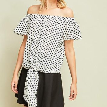 Navy Polka Dot Off Shoulder Top