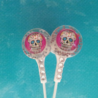 Sparkle Pink Sugar Skull Earbuds with Swarovski crystals