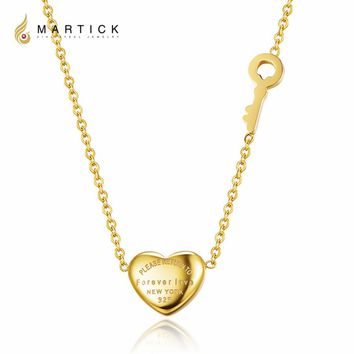 Martick 316L Stainless Steel Gold-color Heart Shape Pendant Forever Love Key Link Chain Necklace Fashion Jewelry For Women P3