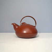 Vintage Heath Ceramics Mojave Red Teapot with Copper Handle