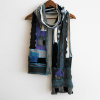 Grey black men scarf, Patchwork scarf, Handmade scarf, Unique scarf, Men christmas gift, Moher men scarves, Design scarves , Purple applique