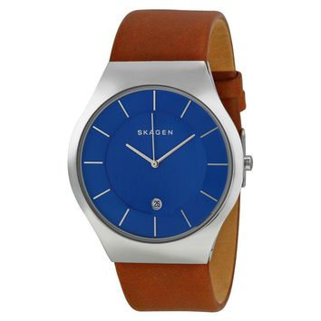 Skagen Grenen Blue Dial Brown Leather Mens Watch SKW6160